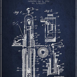 Aged Pixel - Oil Well Pump Patent From 1912 - Navy Blue
