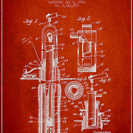 Aged Pixel - Oil Well Pump Patent From 1912 - Red