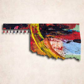 World Art Prints And Designs - Oklahoma Map Art - Painted Map of Oklahoma