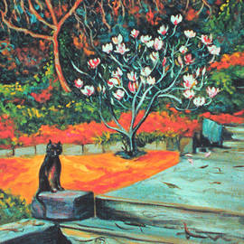 Old Bear Cat and Blooming Magnolia Tree by Asha Carolyn Young