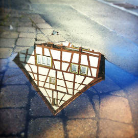 Old Half-timber House Upside Down - Water Reflection by Matthias Hauser