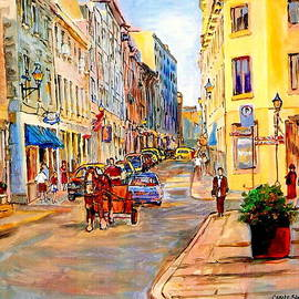 Old Montreal Paintings Youville Square Rue De Commune Vieux Port Montreal Street Scene  by Carole Spandau