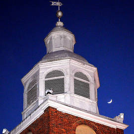 Old Otterbein Umc Moon And Bell Tower by Bill Swartwout Photography