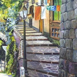 Old Village Stairs - in Tuscany Italy by Carol Wisniewski