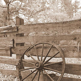 Cheryl Hardt Art - Old Wagon Wheel in Sepia
