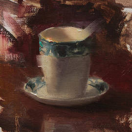 One More Cup Teacup Painting by Karen Whitworth
