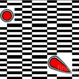 Op Art Geometric Black White Red Abstract No.222. by Drinka Mercep