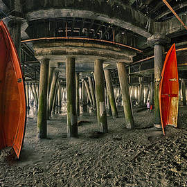 Orange Life Boats Under The Santa Monica Pier by Scott Campbell