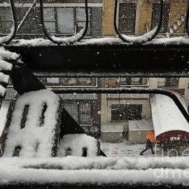 Orange Umbrella - Winter in New York by Miriam Danar