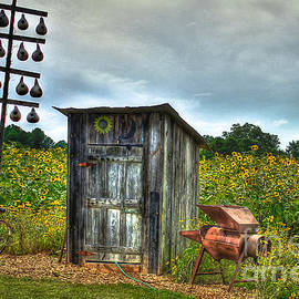 Out House Out Back Restroom Country Living Farming Art by Reid Callaway