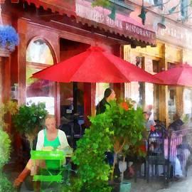 Hoboken NJ - Outdoor Cafe With Red Umbrellas by Susan Savad