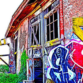 Outside an Entrance to the Old Train Roundhouse at Bayshore near San Francisco Altered  by Jim Fitzpatrick