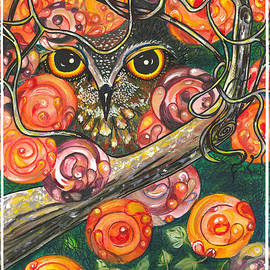 M E Wood - Owl in Orange Blossoms