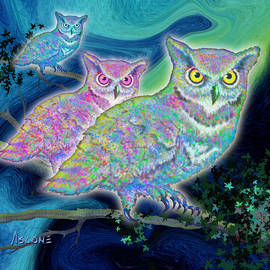 Owls at Midnight  Square by Teresa Ascone