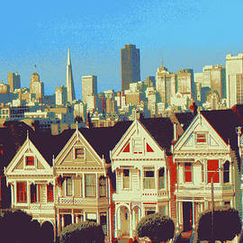 Alamo Square San Francisco - Digital Art Painting by Peter Potter