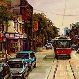 Paintings Of Toronto Italian Resto Take The Tram To College And Clinton Carole  by Carole Spandau