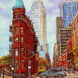 Paintings Of Toronto The Flat Iron Building Front Street And Church Toronto Skyline Art C Spandau by Carole Spandau