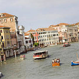 Panarama Grand Canal In Venice Italy From Bridge by Raimond Klavins