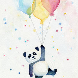 Panda Floating with Balloons by Olga Shvartsur