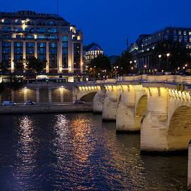 Paris Blue Hour - Pont Neuf Bridge and La Samaritaine by Georgia Mizuleva