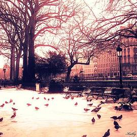 Kathy Fornal - Paris Charlemagne Statue - Surreal Sunset Notre Dame Courtyard Charlemagne With Pigeons