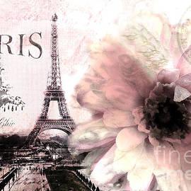 Paris Eiffel Tower Montage - Paris Romantic Pink Sepia Eiffel Tower Flower French Cottage Decor  by Kathy Fornal