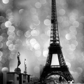 Paris Eiffel Tower Surreal Black and White Photography - Eiffel Tower Bokeh Surreal Fantasy Night  by Kathy Fornal