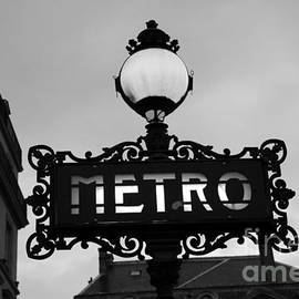 Paris Metro Sign Black and White Art - Ornate Metro Sign at the Louvre - Metro Sign Architecture by Kathy Fornal