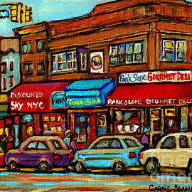 Park Slope Gourmet Deli 5th Avenue New York Paintings Storefronts Street Scenes Carole Spandau by Carole Spandau
