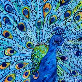 Peacock on Blue by Eloise Schneider Mote