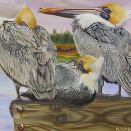 Pelicans Flocking Around by Phyllis Beiser