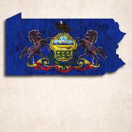 World Art Prints And Designs - Pennsylvania Map Art with Flag Design