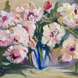Peons In Blue Vase by Elena Sokolova