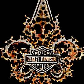 Perforated Fleurs De Lys With Harley Davidson Logo by Danielle  Parent