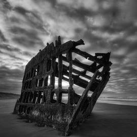 Mark Kiver - Peter Iredale Shipwreck Black and White