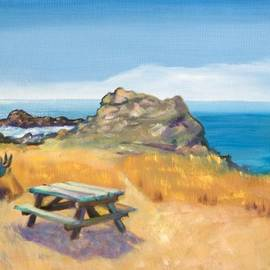 Picnic Table and Ocean with Yellow Field by Asha Carolyn Young