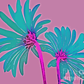 Pink and Teal Blue Flower Pop Art Abstract Color Design by Adri Turner