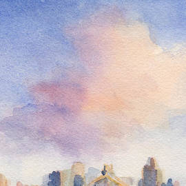 Pink Cloud and 59th St Bridge Watercolor Painting of NYC by Beverly Brown Prints