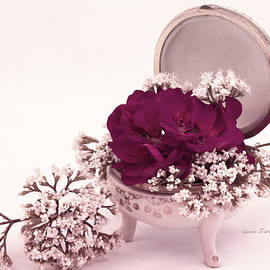 Pink Geranium And Valarian In Vintage Dish  by Sandra Foster