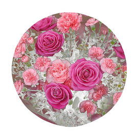 Rosemary Calvert - Pink roses and carnations in circle