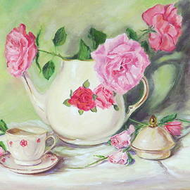 Pink Roses and Tea by Jean Costa