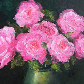 Pink Roses in a brass vase by Jan Matson