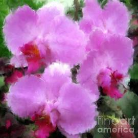 Pink Violet Orchids with Oil Paint Effect by Rose Santuci-Sofranko