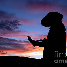Pioneer Silhouette Reading Letter by Cindy Singleton