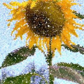 Pointillist Sunflower in Sun City by Barbie Corbett-Newmin