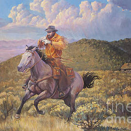 Pony Express Rider at Look Out Pass by Robert Corsetti