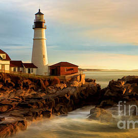 Portland Head Lighthouse at Dawn by Jerry Fornarotto