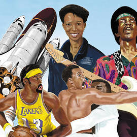 Jimi, Muhammad Ali, Wilt Chamberlain And Mae Carol Jemison by Thomas J Herring