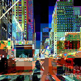 Psychedelic City - Pop Art New York City Street Scene by Miriam Danar