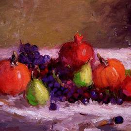 R W Goetting - Pumpkins grapes pomegranates and pears
